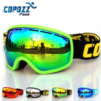 COPOZZ Brand Ski Goggles Professional Anti-fog Adult Ski glasses Double Lens UV400 Snowboard Ski Mask with Soft Frame GOG-207