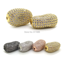 Mixed Black Silver Gold Color pave CZ cubic zircon Setting beads Broad Bean Shaped beads for Pearl Gem Stone jewelry making