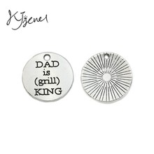 10pcs Tibetan Silver Plated Dad is the King of Grill Charm Pendant fit Bracelet Necklace Jewelry DIY Making Accessories 20mm