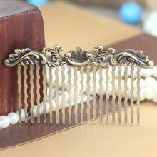 Vintage Antique Bronze Teeth Comb Hair Jewelry Charm Women Flower Hairpin Hairclips Barrettes Retro Hair Wear Accessories DIY