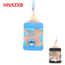 New Card Holder Women Cover Bag Cartoon Animal Design Bus Name ID Hanging School Job Id Card Passport Holder Case BWith String