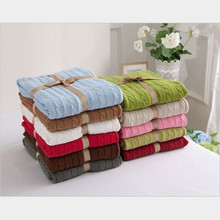 100% Cotton Autumn Knitted Wool Blanket Children Air-conditioned Room Sofa Blanket Winter Striped Solid Blanket 120*180cm BT001