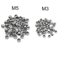 Brand NEW 50PCS M3 M5 304 Stainless Steel DIN985 Galvanized Self-locking Nut Nylon Lock Durable Quality(China)