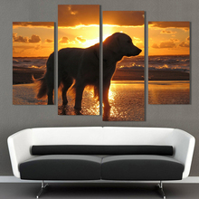 4Pcs Unframed Dog Seascape Painting Canvas Wall Spray Painting Modern Decorative Canvas Art Work Prints On The Living Room