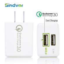 Original Sindvor Quick Charge 3.0 Dual USB 2 ports Travel Wall Charger For Samsung Galaxy S7 S6 Edge Huawei LG US EU Plug