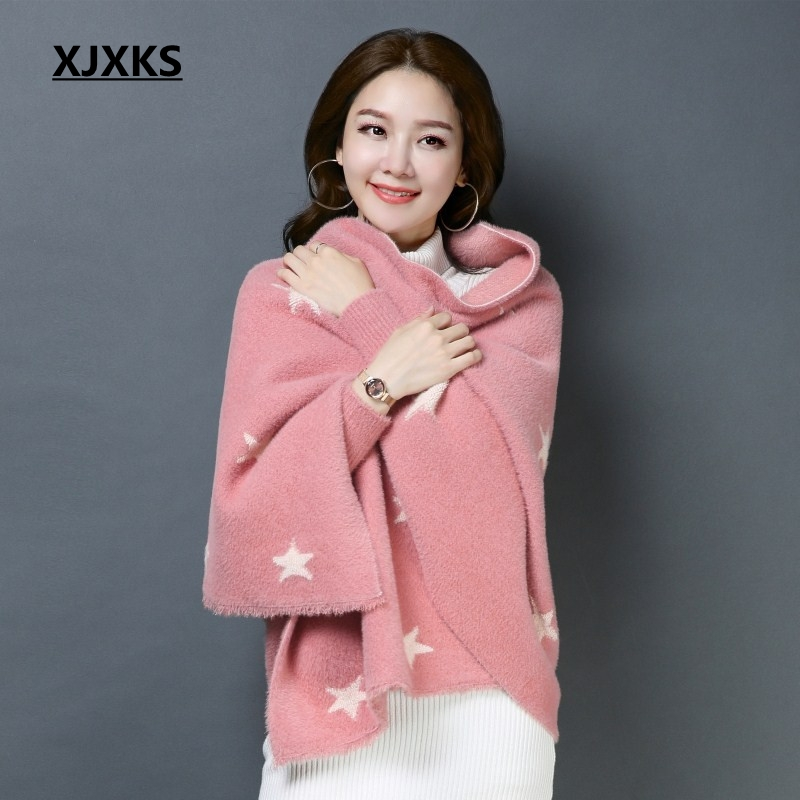 XJXKS echarpe femme hiver bufandas invierno mujer 2018 beautiful scarf women good quality fuzzy soft cashmere women pashmina