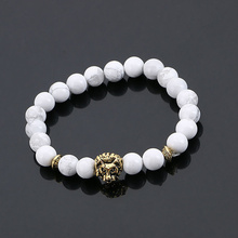 Natural agate stone bead lava Black Bracelet men with female energy ancient gold plated lion head Jewelry Bracelet