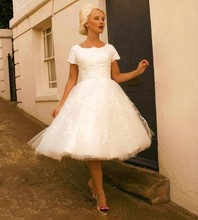 Short Sleeve Knee Length Wedding Dress Lovely O Neck Ball Gown Lace Bride Dresses robe de mariage Hot Sale
