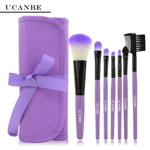 4 Color UCANBE Brand New Fashion Professional 7 pcs Makeup Brush Set tools HOT Make-up Toiletry Kit Wool Make Up Brush Set Case
