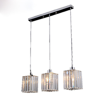 Modern Round LED Crystal Chandelier Clear K9 Crtstal Rectangular Dining Table Lamp For Bar coffee shop Ceiling Light Fixture