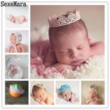 1Pc Baby Lace Crown Photo Prop Girl Queen Princess Birthday Crown, Newborn Photography Prop Infants Handmade Birthday Accessory(China)