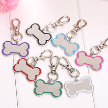 Puppy Glitter Cute Bone Shape Pet Dog ID Charms Tag Necklace Pendant Zinc Alloy Engraved Collar Mascotas Cachorro Chien Perros