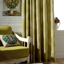 Curtain For Living Blackout Ready Made Curtians Embroidery Decor Door Curtain Cotton Leaf Insulated Drapes Rustic Window Panels