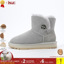 INOE 새 양피 leather 울 퍼 안감은 은은한 suede women 발목 눈 boots 와 크리스탈 button women short casual 겨울 shoes 34-44(China)