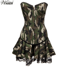 Camouflage Corset Tutu Skirt Fancy Dress Madam Military Costume Cosplay Women Army Officer Game Adult Sexy Halloween Costumes