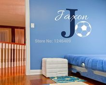 Custom made Personalized name Baby Nursery Football Wall Sticker Kids Room Wall Decal Kids Decor -You select name and color