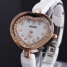 Brand Longbo Women Stylish Crystal Decorative Heart Shaped Ceramic Watch White Ceramic Watch Women Fashion Dress Watches