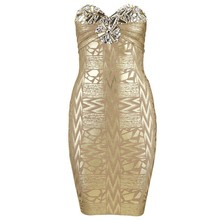 Claire 2016 Hot Stunning Gold Silver Strapless Jersey Sheath None Dresses Night Club Printed Bandage Dress Plus Size CS-H469