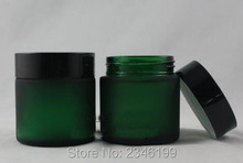 50G 50ML Green Blue Color Frosted Glass Bottle With Black Cap, Empty Cosmetic Packing Container Glass Jar, 10pcs/lot