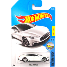 New 2017 Hot Wheels 1:64 White Tesla Models S Metal Diecast Cars Kids Toys Vehicle For Children Models(China)