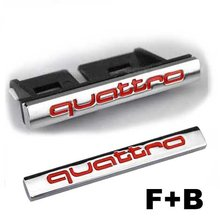 2pcs Set  Red Car Styling Accessories Chromed Emblem Badge Decal Sticker Quattro Front Grille + Back For AUDI A1 A3 A4 A5 A6 A7