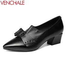 Buy VENCHALE women genuine leather pumps pointed toe rivet pointed toe high heels shallow shoes pig skin inside lady dress shoes for $45.46 in AliExpress store