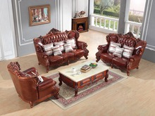 luxury European leather sofa set living room sofa China wooden frame sectional sofa 1+2+3(China)