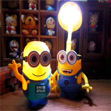 Small yellow people piggy bank children creative cartoon LED desk lamp primary school students charge eye learning bedside night(China)