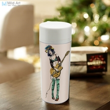 Personalized Modern Drinkware BPA Free Plastic Insulated Vintage Retro Guitar Girl Pop Rock Roll Music Water Bottles 300ml Gifts(China)