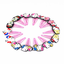 10Pcs/Lot Cartoon Girls Hair Clips Hello Kitty Pink Barrette Kids 5cm BB Hairpins Children Hair Accessories Headwear Hair pins(China)