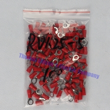 RV1.25-5 Red  Insulated Crimp Ring Terminal Cable Wire Connector 100PCS/Pack RV1-5 RV