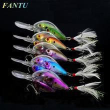 FANTU 2017 New Fishing Crankbait School Of Fish 17.1g/9.7cm Long Tongue Crank Lure With Feather Hook 4# Fishing Tackles 2PCS(China)