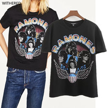 Freeshipping harajuku t shirt women 2017 The European and American wind couture fashion ramones play printed t-shirts