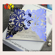 2015 hot sell royal blue laser cut invitation cards sleeves for baby shower