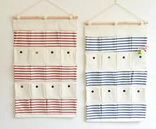 20 pockets Multi Pockets Stripe Hanging Storage Bag Wall Mounted Hanging Organizer Pouch Space Saver Sundries Case(China)
