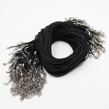 100pcs/lot 17-19 Inch Adjustable Black Necklace Rubber rope Cord String 1.5mm For DIY Jewelry Making (K03585)