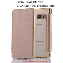 4 Colors Brand Top Quality Luxury Leather Slim Flip Wallet Cover For Samsung S7/S6 edge/J7 Gold Plating TPU Silicone Phone Case