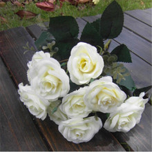 Hot sale White 12Heads Artificial Rose Silk Leaf Flower Home Wedding Bridal Bouquet Decoration Flowers