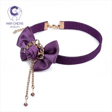 HanCheng New Fashion Cute Tassel Purple Silk bowknot Bow Tie Choker Necklace Women Necklaces Suede Ribbon collar jewelry bijoux
