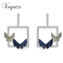 VOGUESS Luxury 2017 New Double Butterfly Earring AAA Genuine Austria Crystal CZ Dangle Earrings for Women Free Shipping(China)