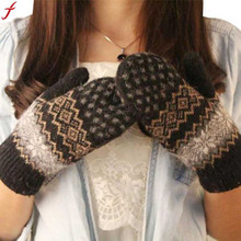 2017 Knit Wool Women Girl Snowflake Winter Keep Warm Mittens Gloves Warm Mittens Women's Glove Mittens Luvas(China)