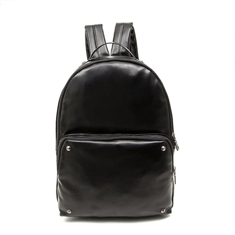 2017 Luxury Designer Brand PU Leather Black Men Backpacks School Bag Pack For Teenagers Casual Shoulder Bags Blet Pocket Backbag<br><br>Aliexpress