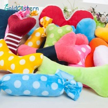 Pet Squeak Toys Candy bones heart square Shapes Pet dog chew toy The Cloth Pet Toys with built-in BB sounder Random color Style