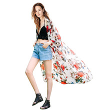 Hot Sale Women summer Chiffon Beachwear long coat Boho Print Flower Swimsuit Sexy Cardigan Beach Cover Up Cape Tops Blouses 8013