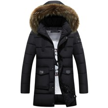 -25 Degree Temperature Parka Men Cotton Padded Long Thick Warm Casual Winter Jacket Men With Raccoon Dog Fur Collar(China)