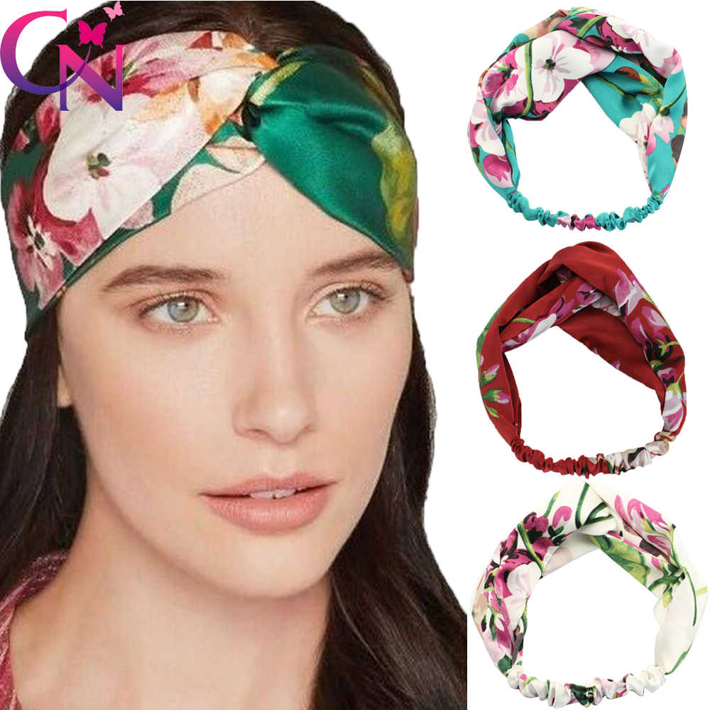 Detail Feedback Questions about Flower Printed Silk Twist Headband For  Adult Women Lady Vintage Soft Fabric Stretch Hairband Turban Headwrap Hair  ... 24dcdd753a67