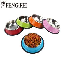 Stainless Steel Pet Dog Bowls 3 Colors Food Water Drink Dishes Feeder For Cat Puppy Dogs Food Dispensers Bebedouro Para Cachorro(China)
