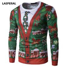 LASPERAL 2017 Christmas Style T-Shirts Men Long Sleeve Christmas Tree Tie Printed Tee Tops Male Autumn Fashion Tee Shirts(China)