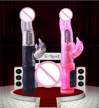 Round Head BLACK/PINK Rabbit Vibrator Rotate The Steel Ball G Spot And Clitoris Dual Vibration Couples Flirting(China)