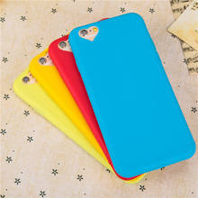 Exquisite Cute Candy colors Soft TPU phone cases loving heart hole design protect cover with Dust plug For iphone 6 6S 4.7inch